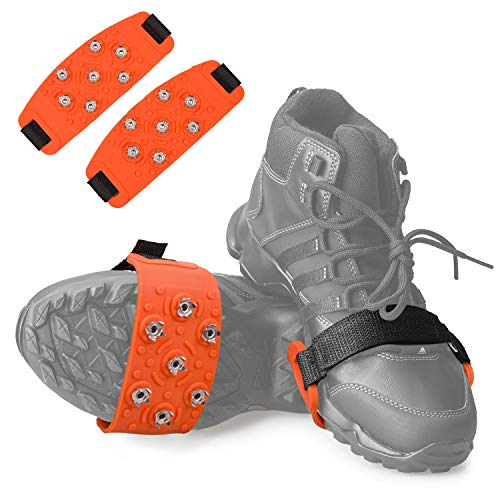 FANBX F Crampon Traction Cleats Anti-Skid Traction Grips Crampons Spikes 7 Point Cleats for Footwear for Walking, Jogging, Hiking, Mountaineering Ice Snow Grips (Orange)