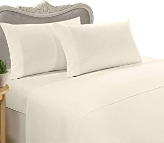 Luxurious Queen Size 1200 Thread Count Solid Ivory 100% Egyptian Cotton 1200 TC Bed Sheet Set 1200TC (Deep Pocket)