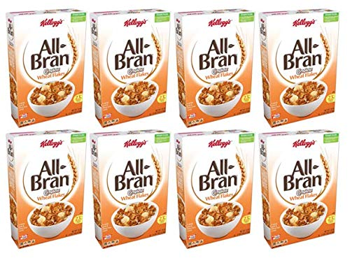 Kellogg's All-Bran Complete Wheat Flakes, Breakfast Cereal, Excellent Source of Fiber, 18 oz Box(2 count) (Pack of 4)