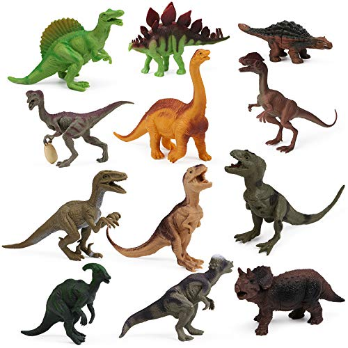 12pcs Dinosaur Figures for Boys Realistic Dinosaur Toys Animal Figurines for Kids Dinosaur Pack Cake Toppers Decoration