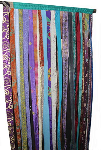Mango Gifts Old Silk Sari Multicolor Ribbon Doorway Curtain