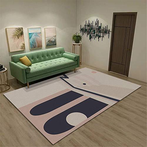 alfombras de Pasillo Alfombra Antideslizante y Resistente a Las Manchas con diseño geométrico Azul y Amarillo Resistente a la decoloración Alfombra habitación Matrimonio 60*90CM