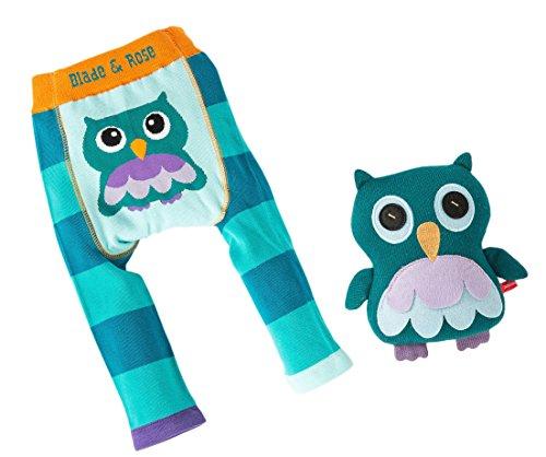 Blade & Rose - Coffret cadeau pour bébé avec collants et poupée douillette Owl Oheo la chouette - Turquoise - 68/74 cm (6-12 mois)
