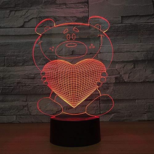 Lumi/ère Touch Control 7 couleurs Change USB Lampes Bureau Powered D/écoration D/écoration Maison Enfants Meilleur cadeau 3D Le coeur LED Lampes Art D/éco Lampe la couleur changeant lumi/ères LED
