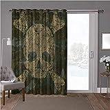 YUAZHOQI cortinas opacas para puerta de habitación, camuflaje, diseño de camuflaje envejecido, ancho 52 x largo 84 pulgadas cortina de puerta de cristal para ventana (1 panel)