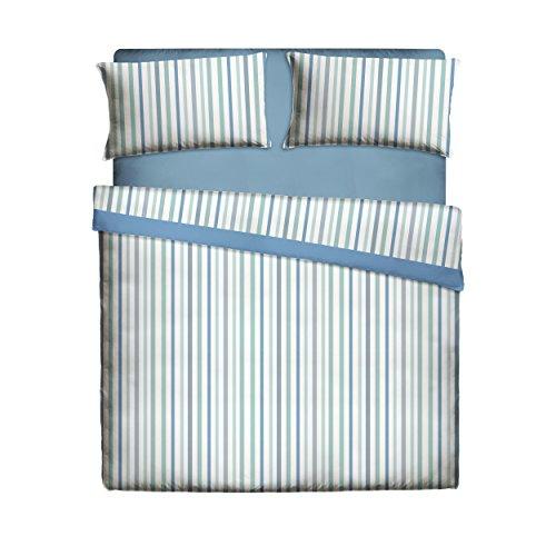 Casa Lieri - Juego de sábanas, algodón, 50% poliéster, azul. Cama de 90 (Todas las medidas)
