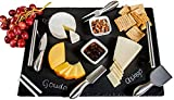 Slate Cheese Board Set | 9 pcs - 12' x 16' Serving Tray, Stainless Steel Cheese Knife Set with Ceramic Bowls + Soapstone Chalk