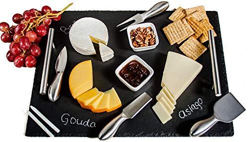 Käsebretter-Set aus Schiefer, 40,6 x 30,5 cm, Serviertablett, Käsemesser-Set mit Keramikschalen und Specksteinkreide