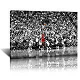 Art Basketball Player Poster Michael Jordan Shot Three Points Black and White Canvas Paintings Wall Art Picture for Living Room Bedroom Home Décor (colorful,20x30inch-Framed)
