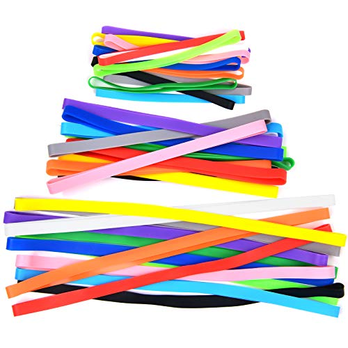 36 Pieces Silicone Rubber Bands Colorful Elastic Rubber Wrapping Bands for Books, Art, Exercise, Crab Traps, Cooking, Wrapping, Heat, Cold, UV, Chemical Resistant (12 inch, 8 inch, and 5.5 inch)