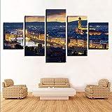 ZXCVWY Leinwandbilder Home Decor HD-Drucke 5 Stück City