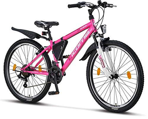 Licorne Bike Guide (Rosa/Weiß 26), 26 Zoll, 24 Zoll, 20 Zoll Mountainbike,Shimano 21 Gang-Schaltung,Gabelfederung,Kinderfahrrad,Mädchen-Fahrrad & Damen-Fahrrad,Rahmentasche