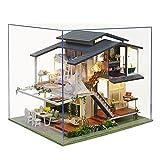 Casa De Muñecas En Miniatura De Bricolaje con Mueble, Casa En Miniatura De Madera 3D con Cubierta Antipolvo Y Movimiento Musical, Kit De Regalo Creativo De Casas para Muñecas