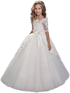 hengyud White Lace Flower Girls Dresses First Communion Dress Princess Wedding 47