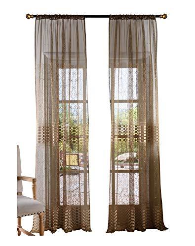 BW0057 Vorhang im chinesischen Stil mit Kleeblatt, Bestickt, durchscheinend, für Schlafzimmer, Wohnzimmer (1 Panel, B 50 x L 160 cm, Braun) 1300466C3BYABN15063-8516