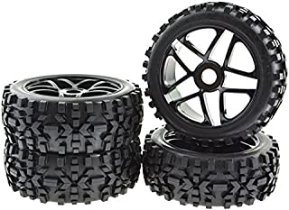 4x RC Wheel Rims Pentagram Tyre Tires Hex 17mm for 1:8 Off-Road Vehicle Black