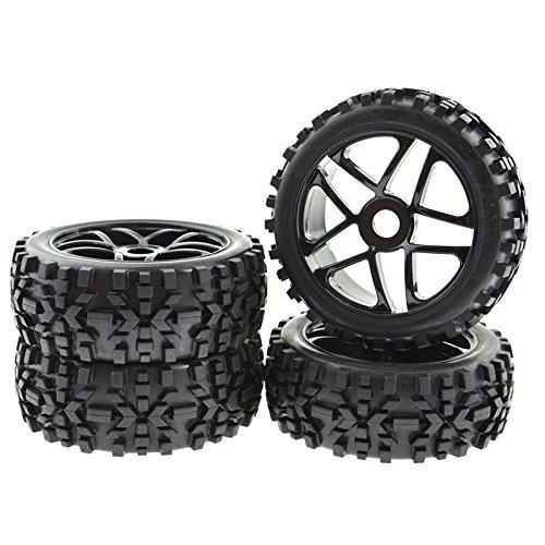 JIUWU 4X RC Wheel Rims Pentagram Tyre Tires Hex 17mm for 1:8 Off-Road Vehicle Black