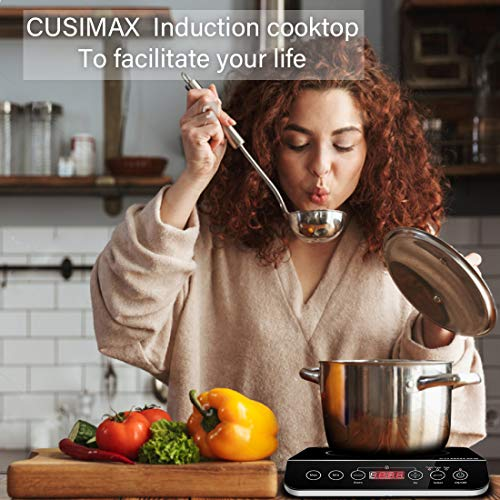 Product Image 7: Induction Cooktop, CUSIMAX 1800W Portable Induction Burner with Timer, Sensor Touch Countertop Burner, 10 Temperature and 9 Power Setting, Kids Safety Lock for Cast Iron, Stainless Steel Cookware