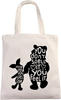 Winnie The Pooh Quotes How Do You Spell Love Tote Bag | Classic Pooh Best Friend Gift | Natural Cotton Canvas 12 Oz Reusab...