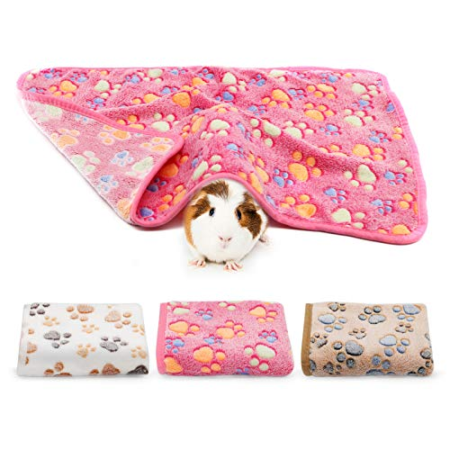 BWOGUE Guinea Pig Blanket, 3 Pack Small Animal Soft Warm Pet Fleece Blankets Sleep Mat Pad Cover Flannel Throw for Hamster Guinea Pig Rabbit Dog Cat Chinchilla Hedgehog