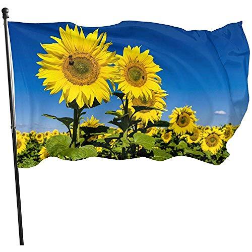 Fahne Sonnenblumen Blauer Hintergrund Strand Fahnen 150X90Cm Dekorativ Willkommensfliege Brise Einfach Zu Bedienen Langlebige Gartenfahne Gartenfahne Gartenfahne Hausfahne Außengartenfahne Rasen