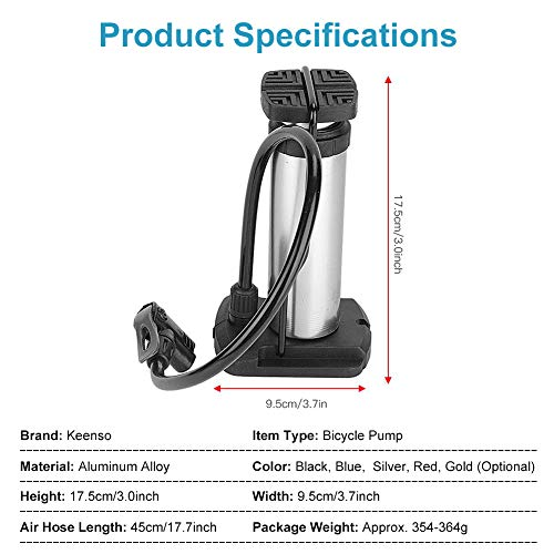 Keen so Bicycle Pump, Mini Bike Foot Pump Portable High Pressure Floor Inflator Tire Air Pump Portable Bike Foot Pump (Silver)
