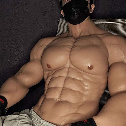 BODYDOM Realistische Silikon Muskelanzug Gefälschte Männliche Brust mit Einhorn-Armen für Cosplay Transsexuell Maskerade Kostüm (Aufgerüsteter Halbkörper-Muskelanzug, 3)