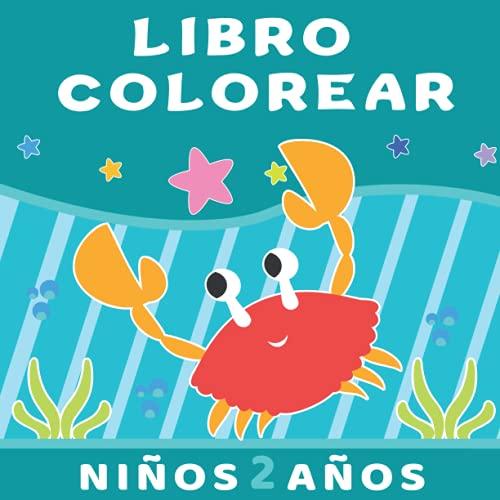 Libro colorear niños 2 años: Cuadernos para colorear, animales marinos, tiburon, peces, delfin y más. Pintar para niños y niñas