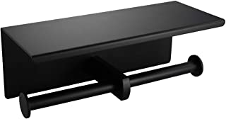 WEAVERBIRD Double Roll Toilet Paper Holder, SUS304 Stainless Steel Bathroom Tissue Holders with Mobile Phone Storage Shelf, Matte Black