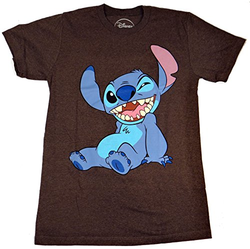 Disney Lilo and Stitch Winky Wink Adult T-Shirt (Extra Large, Heather Charcoal)
