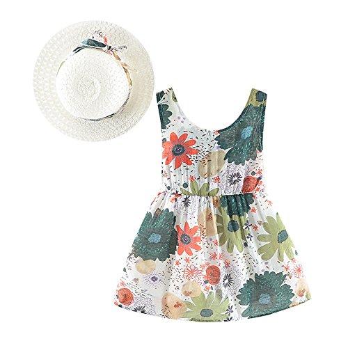 JUTOO Vestido de Princesa del Bowknot del Estampado Floral de Las niñas recién Nacidas + Sombrero Conjunto de Ropa Informal(70 80 90 100)