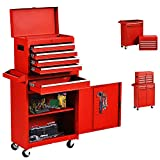 5-Drawer Tool Chest, Big Rolling Tool Box, Large Tool Chest with Sliding Drawers, Garage Tool Box with Wheels, 2 in 1 Multi-purpose Tool Organizer for Garage and Warehouse (Red)
