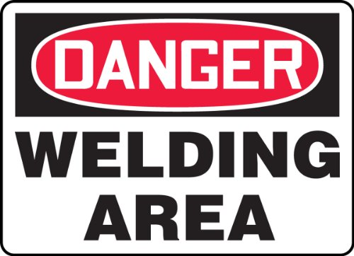 Accuform MWLD009VP Plastic Safety Sign, Legend'Danger Welding Area', 7' Length x 10' Width x 0.055' Thickness, Red/Black on White