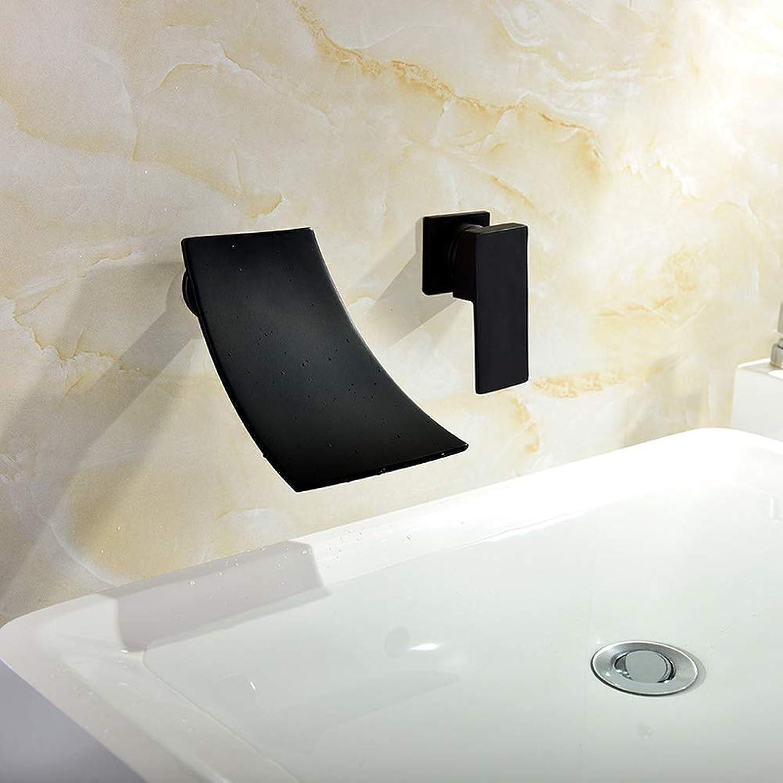 ZHUAPP Schwarz Dunkle Wandmontage Wasserhahn Tisch Oberen Becken Wasserhahn Heien Und Kalten Wasserfall Becken Wasserhahn Eingebettet Wasserhahn