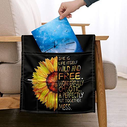 Pizding Soporte de control remoto con 5 bolsillos, organizador de almacenamiento para ahorrar espacio, sofá o reposabrazos, mesita de noche, elegante girasol amarillo sin olor