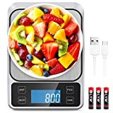 Allkeys USB Rechargeable Food Scale,Digital Kitchen Scale Weight Grams and Oz for Cooking and Baking, 0.1g/0.035oz Precise Graduation, 9'x6.3'Stainless Steel Surface, Large Back-lit LCD Display