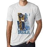 One in the City Hombre Camiseta Vintage T-Shirt Gráfico Brasilia Lifestyle Blanco Moteado