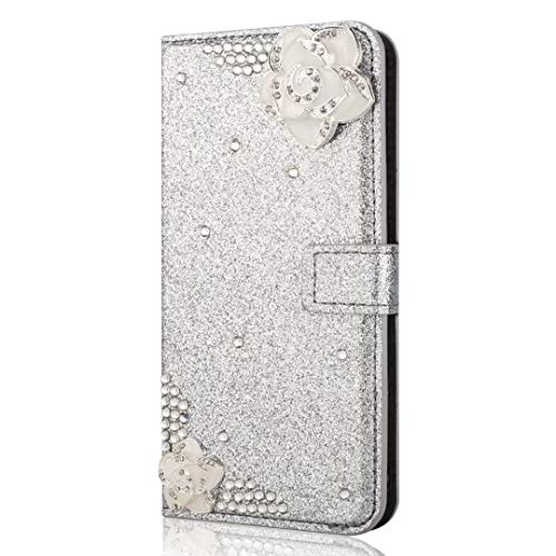Samsung Galaxy A21s Phone Case, Bling Gems Diamond PU Leather Flip Wallet Cases Sparkly Crystal Rhinestone Cover with Magnetic White Flower Buckle Card Slot Stand for Samsung Galaxy A21s Silver