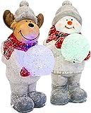 Mark Feldstein & Associates Moose & Snowman Holding Snowballs LED Light Up Terra Cotta 2 Piece Set