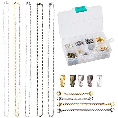 Beadthoven 25 collares de cadena de eslabones de latón de 1,96 pies, ancho de 2,5 mm con 4 cadenas extensoras, 50 unidades de broches para hacer joyas (5 colores)