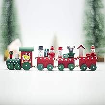 XuBa Christmas Decoration, Christmas Train Painted Wood Christmas Decoration for Home B Green Front