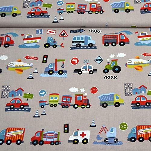 MAGAM-Stoffe Bunte Autos Baumwollstoff Kinderstoff 100% Baumwolle Oeko-Tex Meterware 50cm (Grau)