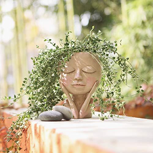 AIMEBBY Face Flower Pot Head Planter Pot Succulent Planter Cute Resin...