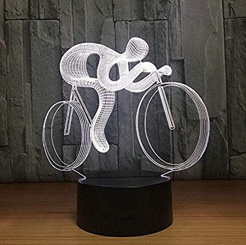 OUUED 3D LED Luz de noche Bicicleta Lámpara de noche Luz 7 colores que cambian Visual Holograma Decoración AAA USB Baterías Mesa Lamparas Lámpara Regalo para deportista, Bonito regalo de cumpleaños