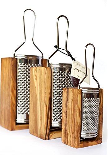grattugia formaggio in legno di olivo italiano ed acciaio inox - made in italy- cucina italiana parmigiano reggiano, grana padano.