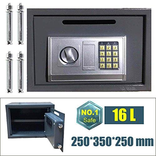 16L Safe box acciaio ad alta sicurezza serratura casseforti Home Office soldi contanti Storage box con 2chiavi di correzione (grigio)
