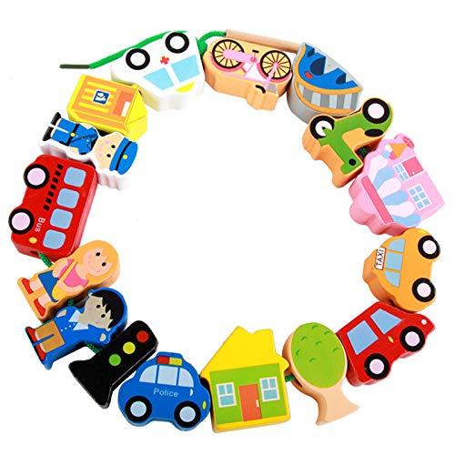 Afunti Cuentas de Madera Juguete de enhebrar, Juguete de Primera Infancia encordado Principal para niños pequeños y bebés Montessori Educational Toys
