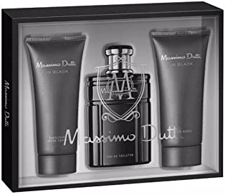Massimo Dutti In Black Set de Agua de Colonia, Bálsamo para Después del Afeitado y Gel de Ducha - 300 ml