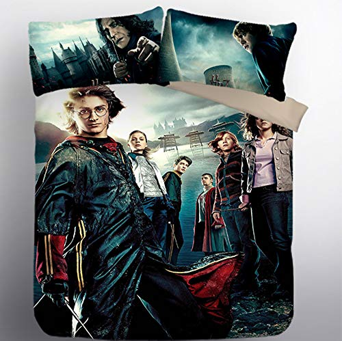 YARIVI 3D Harry Potters Printed Duvet Cover Set 3 Pc Bedding Sets Include 1 Duvet 2 Pillowcase Best Gift for Fans with Zipper Closure Full Size