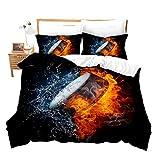 Loussiesd Juego de ropa de cama con diseño de hockey sobre hielo, 135 x 200 cm, para niños, diseño de llamas rojas y agua azul, 2 piezas con 1 funda de almohada de 80 x 80 cm